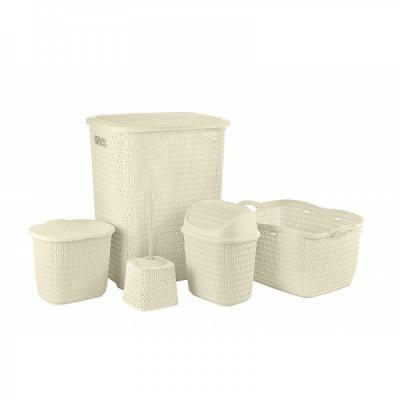 Set 5 Cosuri si Accesorii Plastic Baie Tuffex TP4003 Crem JU