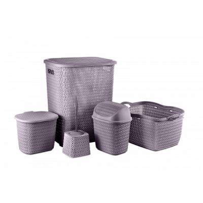 Set 5 Cosuri si Accesorii Plastic Baie Tuffex TP4003 Mov JU
