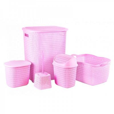 Set 5 Cosuri si Accesorii Plastic Baie Tuffex TP4003 Roz JU