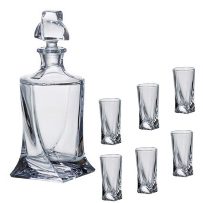Set 6 Pahare Shoturi si Decantor Whiskey, Crystalite Bohemia Quadro