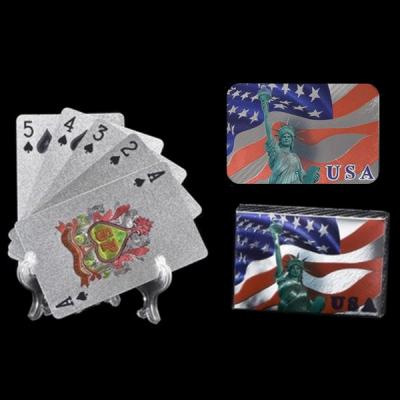 Set Carti de Joc Argintii Plastifiate cu Design USA