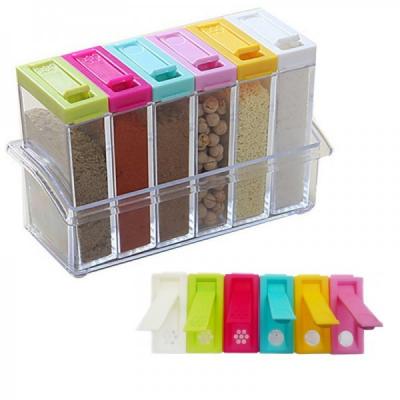 Set pentru Condimente 6 recipiente din Plastic cu Suport SC203 JU