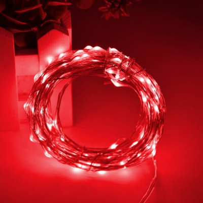Snur Luminos 100 Micro LED Rosii 10m Fir Silver 12V IP20