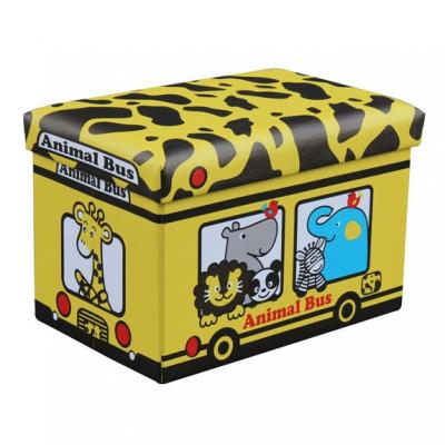 Taburet cu Spatiu Depozitare Pliabil 48x32x32cm Animal Bus TB63