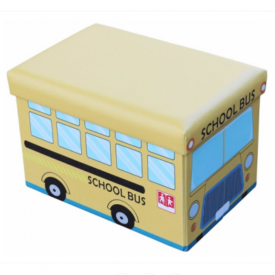 Taburet cu Spatiu Depozitare Pliabil 48x32x32cm School Bus TB64