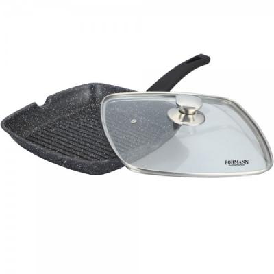 Tigaie Grill Marmorata cu Capac 24cm Bohmann BH100224MRB