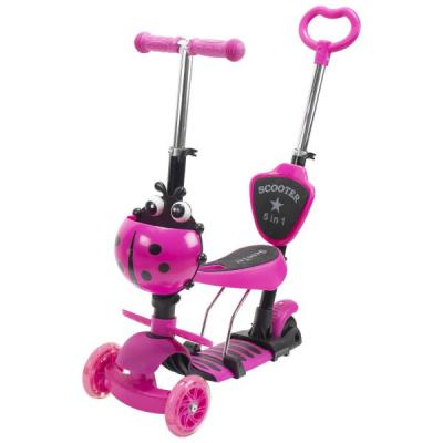 Trotineta Copii Scooter 5in1 1-8 Ani 40Kg cu Manere O si T Roz