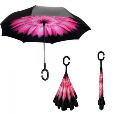 Umbrela de ploaie reversibila 100cm Imprimeu Interior Floare ROZ UM001