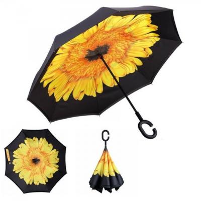 Umbrela Ploaie reversibila 100cm Design Interior Floare Galbena UM001