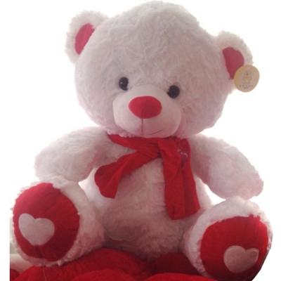 Ursulet de Plus Alb cu Rosu 60cm